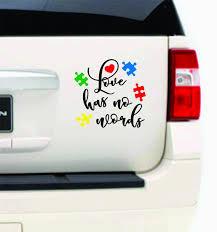 Autism Awareness Love Has No Words Heart Puzzle Piece Car Etsy