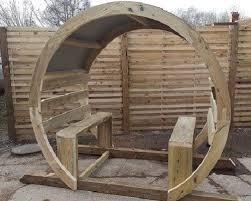 wooden garden circle arch seating moon