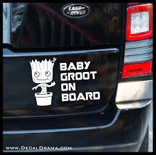 Baby Groot On Board Guardians Of The Galaxy Inspired Fan Art Vinyl Ca Decal Drama