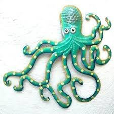 octopus hand hammered recycled metal