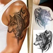 Duza Glowa Wilka Wodoodporna Tymczasowa Naklejka Tatuaz Body Arm