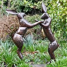 metal boxing hares garden sculpture