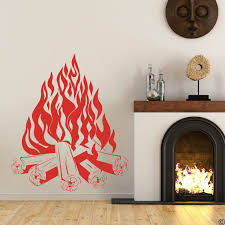 Large Bonfire Campfire Camping Fire Fireplace Wall Sticker Living Room Playroom Fire Travel Wall Decal Bedroom Vinyl Decor Wall Stickers Aliexpress