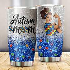 Amazon Com Autism Mom Heart Puzzle Autism Awareness Day Tumbler Stainless Steel Vacuum Insulation Travel Mug Water Coffee Cup For Home Office School Ice Drink Hot Beverage Kitchen Dining
