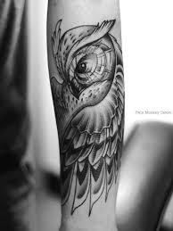 Twinmonkeytattoo Owl Tattoo Art Black Grey Custom Animal