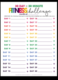 30 day 30 minute fitness challenge