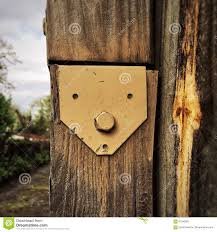 Surprised Anthropomorphic Face In Yellow Metal On Fence Post Stock Image Image Of Confused Face 91340061