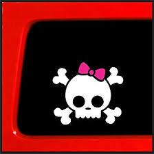 Amazon Com Sticker Connectoin White Skull Bones Pink Bow Bumper Sticker Decal For Car Truck Window Laptop 3 7 X4 4 White Automotive
