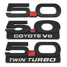 Car Sticker 5 0 Trim Front Hood Grille Emblem Badge Rear Trunk 3d Car Decals For 5 0 Coyote V8 Twin Turbo Emblem Ford Mustang Car Stickers Aliexpress