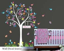 Floral Wall Decal Colorful Swirly Tree Sticker Nursery Etsy Floral Wall Decals Kids Wall Decals Wall Decals