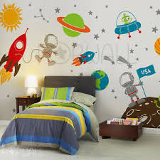 Space Wall Decal Planets Astronaut Boy Star Kids Rocket Ship Wall Decal Ebay