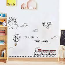 Amazon Com Holly Lifepro Cute Cartoon Kids Room Wall Decal Diy Travel In The Wind Train Babies Bedroom Study Room Playroom Nursery Room School Style Three Baby