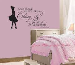 Classy And Fabulous Wall Decal Coco Chanel Wall Quote Girls Room Wall Decal Via Etsy Wall Quotes Girls Room Girls Bedroom Vintage Kids Room Wall Decals
