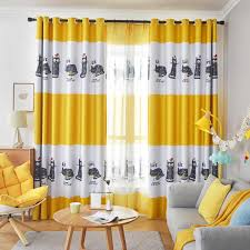 Nordic Blue Cartoon Cat Curtains For Living Kids Room Bedroom Ins Style Yellow Blackout Curtain Window Drapes Curtains Aliexpress