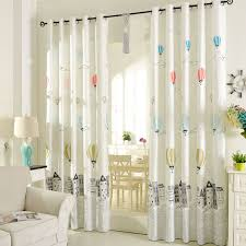 Printed Air Balloon Pattern Beige Poly Cotton Blend Kids Curtains