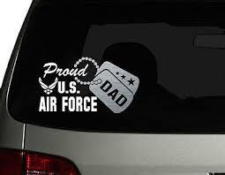 Proud Us Air Force Dad Vinyl Car Decal Sticker 7 5 W Silver Military Dog Tag Ebay