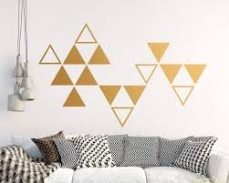Large Triangle Wall Decals Geometric Vinyl Decals Gold Etsy Geometric Wall Triangle Wall Wall Painting