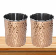 hammered copper drinking glass tumbler