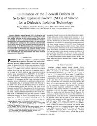 PDF) Elimination of the sidewall defects in Selective Epitaxial Growth  (SEG) of silicon for a dielectric isolation technology