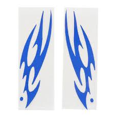 Unique Bargains 2pcs Blue Flame Pattern Vinyl Reflective Sticker Decor For Motorcycle Car