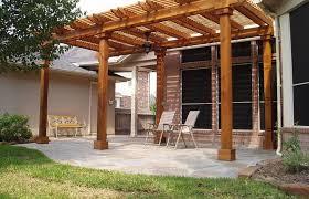 wood patio designs brick concrete