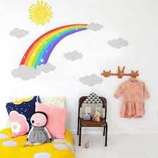 Cartoon Rainbow Wall Stickers Pvc Sun Cloud Wall Decals For Kids Girl