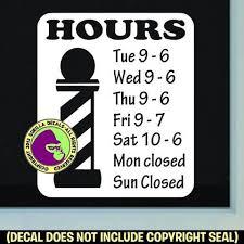 Barber Shop Hours Custom Text Vinyl Decal Sticker Gorilla Decals