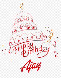 ajay happy birthday vector cake name