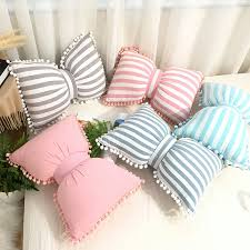 Nordic Cute Bow Knot Kids Cushion Removable Washable Plaid Striped Children Room Decoration Pillow Cushions With Pompom Ball Aliexpress