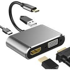 Cáp chuyển đổi USB Type C to HDMI + VGA + USB 3.0 + USB C 4in1 dùng cho  Macbook, Samsung DEX
