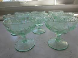 glass ice cream dishes set of eight