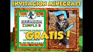 Invitacion Imprimible Minecraft Gratis Youtube