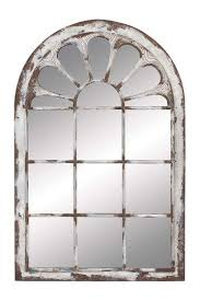 white washed metal wall panel mirror