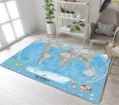 Kids Area Rug Reversible World Continent Map Learning Carpet Game Room Design 7 For Sale Online Ebay
