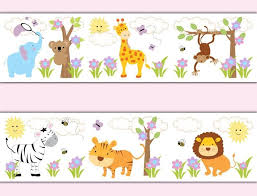 Free Download Jungle Animals Wallpaper Border Decals Baby Girl Nursery Safari Room 800x612 For Your Desktop Mobile Tablet Explore 49 Wallpaper For Baby Girls Room Wallpaper For Babies Baby