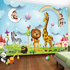 Custom Mural 3d Cartoon Animal Photo Wallpaper Boys Girls Children Room Bedroom Background Wall Painting Wallpaper For Kids Room Wallpapers Aliexpress