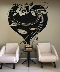 Vinyl Wall Decal Sticker Hawaiian Flower With Heart And Vines Os Aa361 Stickerbrand