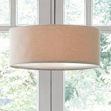 short drum pendant light natural linen