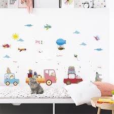 Removable Cartoon Cars Wall Decor Stickers For Kids Room Playroom Aircraft Truck Self Adhesive Mura Wateerproof Diy Wallpaper Wall Stickers Aliexpress