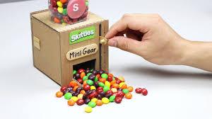 how to make mini skittles dispenser at