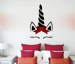Zoomie Kids Hogsett Unicorn Face Sleeping And Bow Vinyl Wall Decal Wayfair