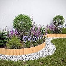 Floranica Spiked Log Roll Border As Easy Plug In Fence Palisade 203 Cm Long As Wooden Edging For Flower Beds Law In 2020 Flower Bed Borders Flower Beds Lawn Edging