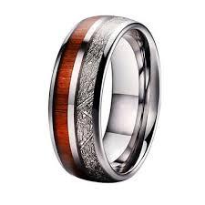 mens koa wood meteorite inlay ring