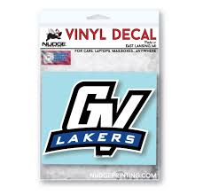 Grand Valley State University Gv With Ribbon Logo Car Decal Nudge Printing