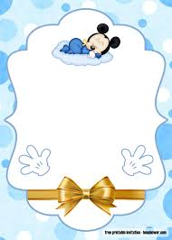 FREE Printable Mickey Mouse Baby Shower Invitations Templates en ...