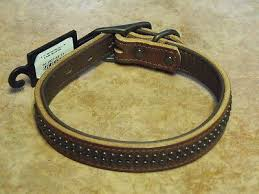 golden brown outlaw leather dog collars