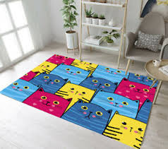 Big Eyes Funny Cats Pattern Area Rugs Kids Bedroom Carpet Living Room Floor Mat Ebay