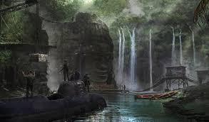 waterfall nature people sci fi