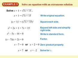 solve an equation with an extraneous