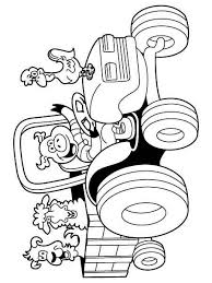 Cartoon Farm Animals And Tractor Coloring Pages Intended For